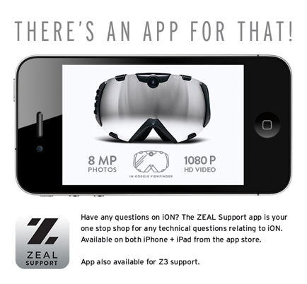 Zeal Optics Announces New Support APP for Goggles Available at iTUNES