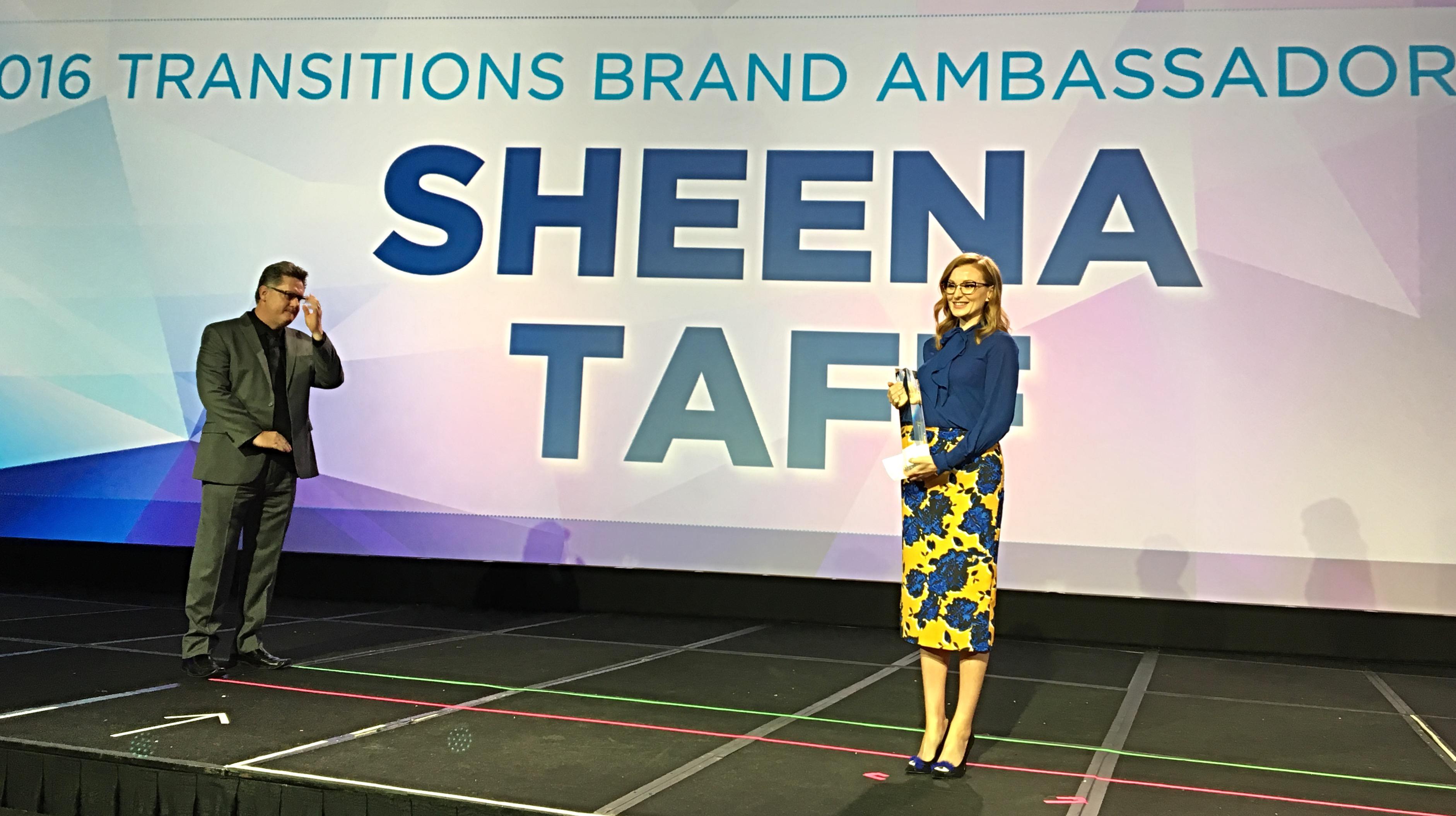 2016 Transitions Brand Ambassador Award winner