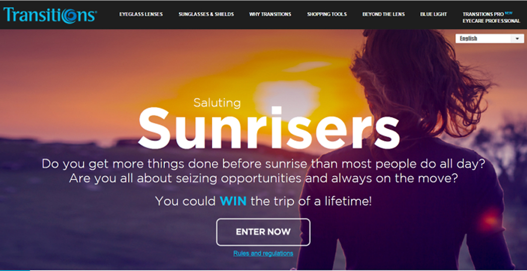 """Transitions Optical launches """"Sunrisers Contest"""" with grand prize trips to witness World's Best Sunrises"""